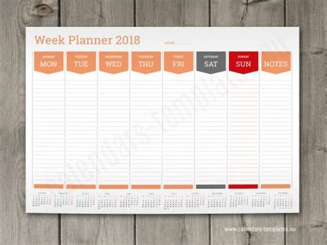 2018 weekly planners calendar templates wall or desk week