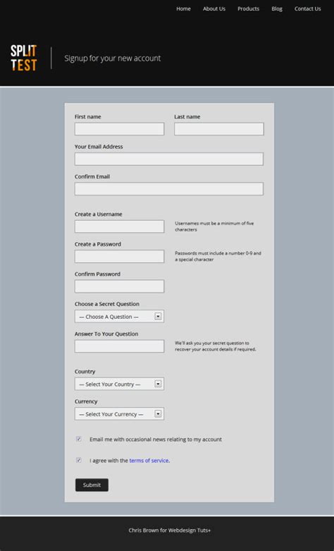subscribe page design task three simple user signup form usman s blog
