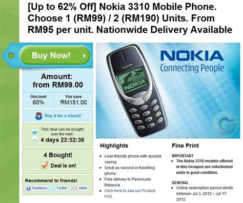 Nokia 3310 Pada Tahun 2000 groupon malaysia menawarkan nokia 3310 pada harga rm99