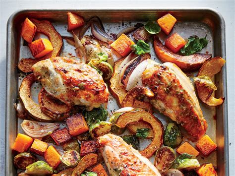 cooking light chicken recipes maple mustard roasted chicken with squash and brussels