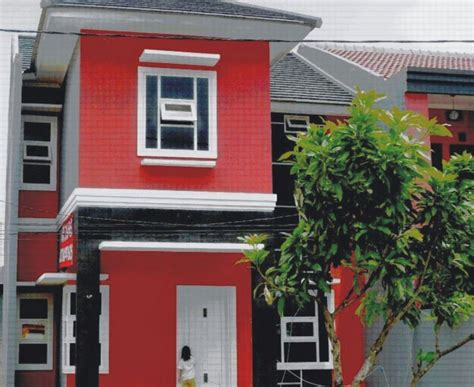 kombinasi warna cat merah rumah bagian luar  bagus