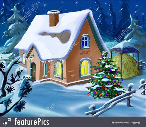 christmas cottage stock illustration   featurepics