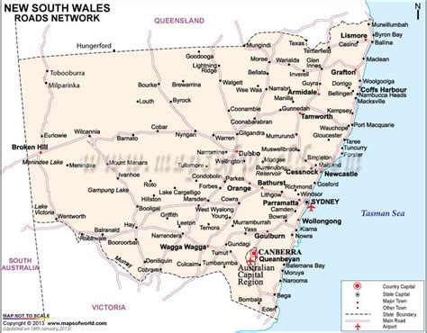 printable nsw road map new south wales road map travel pinterest