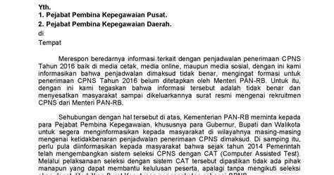 pendaftaran cpns guru sd sleman 2015 2016 surat menteri panrb tentang sanggahan terkait dengan