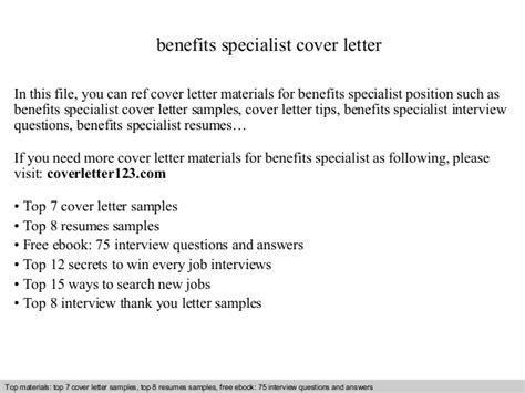 Benefits Specialist Cover Letter by Benefits Specialist Cover Letter
