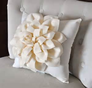 Flowered Pillows - ivory dahlia felt flower on ivory pillow pick your by bedbuggs