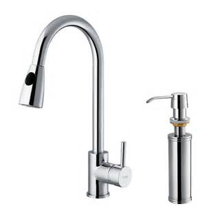 Kitchen Sink Faucet With Sprayers Vigo Single Handle Pull Out Sprayer Kitchen Faucet With Soap Dispenser In Chrome Vg02005chk2