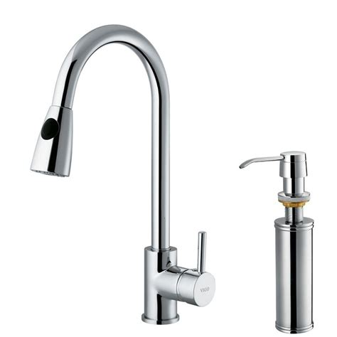 pull kitchen faucet vigo single handle pull out sprayer kitchen faucet with soap dispenser in chrome vg02005chk2