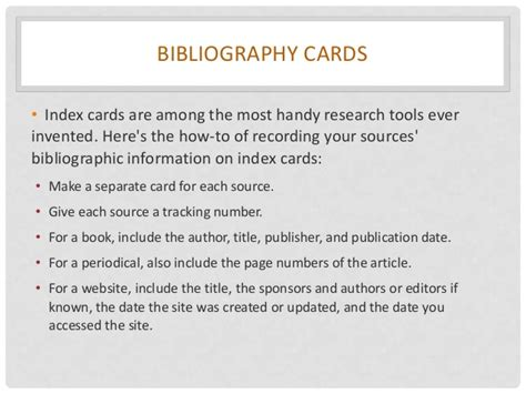 how to make a bibliography card research paper ppt 11 15 12session2ss