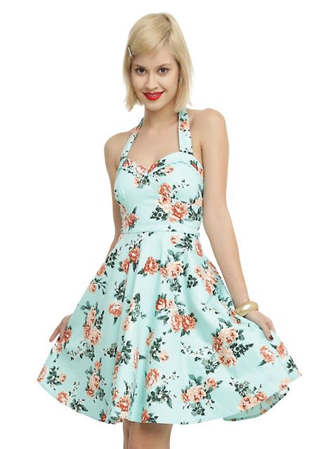 Dress Halter Flowery Biru Murah mint floral halter dress topic