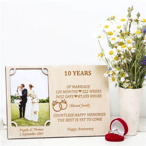 Wedding Anniversary Photo Frame by 10th Wedding Anniversary Personalised Photo Frame By