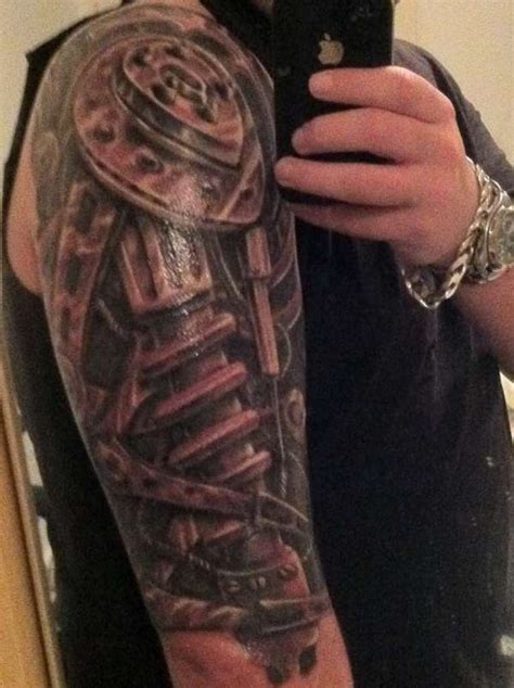 half arm tattoo designs biomechanical sleeve tattoos tattoofanblog