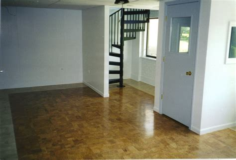 remodel basement house design with brown epoxy floor paint and white wall interior color decor