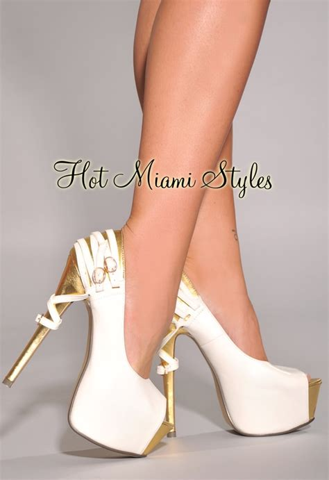 white gold oversized high heel pumps