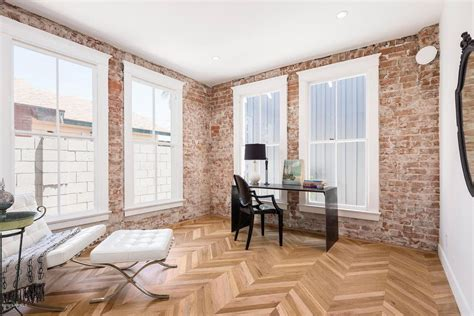 home design 85032 eclectic home office with interior brick herringbone