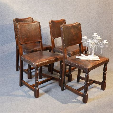 Antique Set 4 Four Oak Leather Dining Chairs Cromwellian Antique Leather Dining Chairs