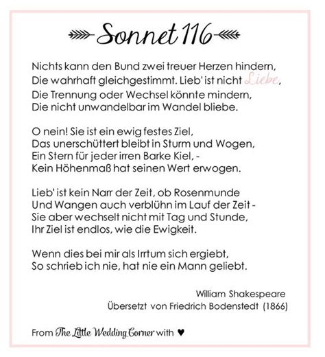Gedichte Zur Hochzeit by Gedicht Zur Hochzeit Shakespeares Sonnet 116