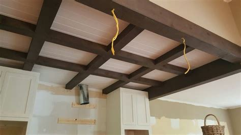 coffered pine ceiling with stained pine beams