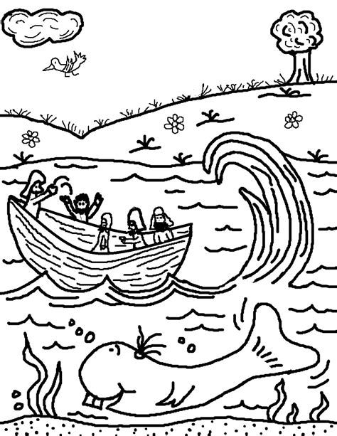 jonah thrown off the boat jonah boat coloring page coloring page