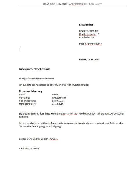 Eingeschriebener Brief Schweiz Vorlage Vorlage K 252 Ndigungsschreiben Krankenkasse Muster Und Vorlagen Kostenlos