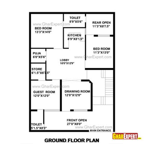 dimensions of 200 square feet house plan for 35 feet by 50 feet plot plot size 195