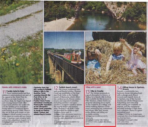 saturday telegraph money section press cuttings of croatian villa holidays