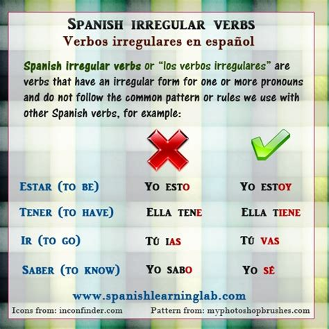 pattern verbs rules verbos irregulares in spanish conjugating irregular