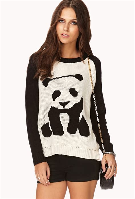 Sweater Panda To lyst forever 21 panda sweater in white
