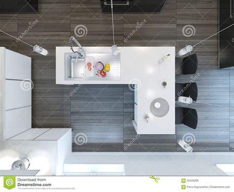 Kitchen Island Cutting Board by Top View Modern Kitchen Bar Stock Illustration Image