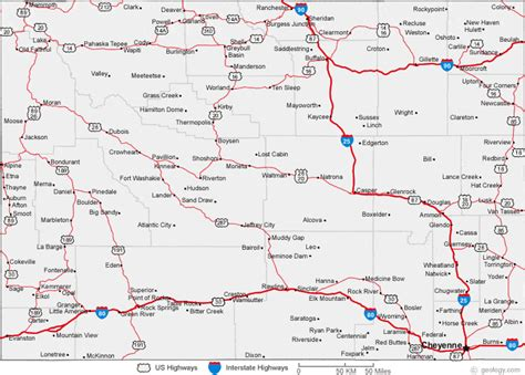 printable wyoming road map map of wyoming cities wyoming road map