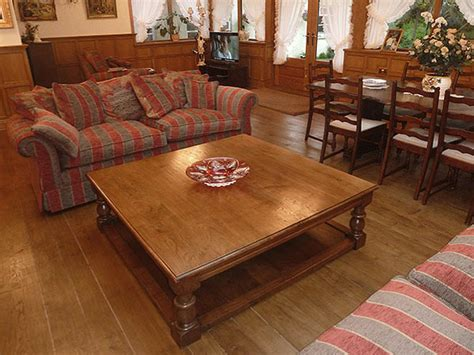 Large Square Oak Pot Board Coffee Table in Panelled Room