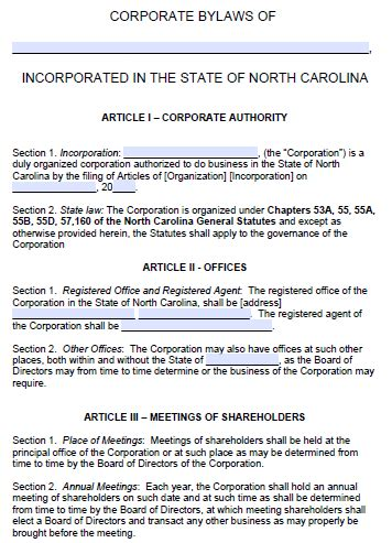 north carolina corporate bylaws template  word