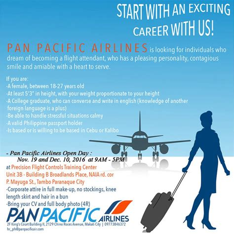cabin crew recruitment cabin crew recruitment pan pacific airlines philippines