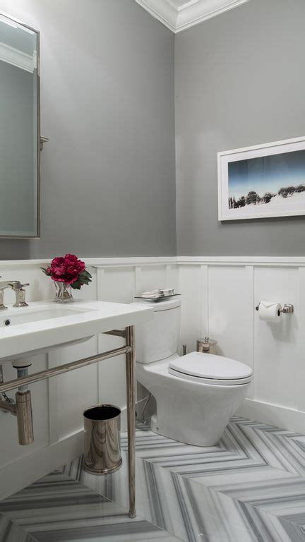 Wainscoting Kitchen Cabinets contemporary powder room with console sink by hirshson