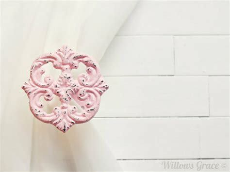 shabby chic curtain tie back hooks two metal curtain tie backs curtain tiebacks by