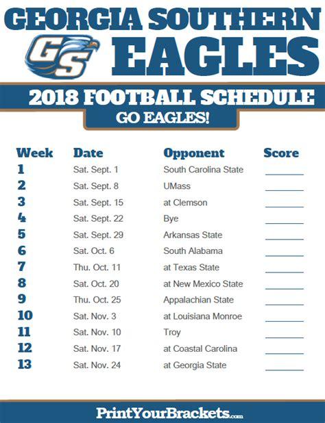 printable uga schedule printable georgia southern eagles football schedule 2018