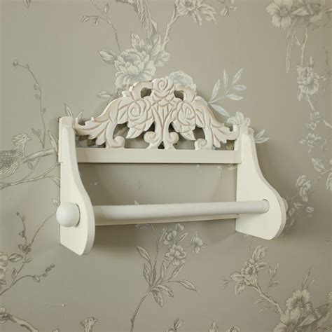 cream wooden kitchen roll holder country rose shabby