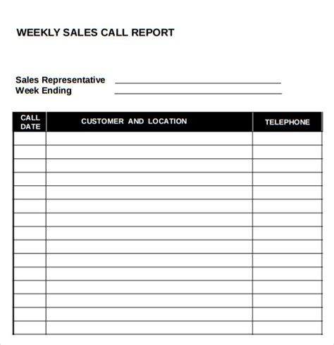 weekly sales call report template sales call report template 7 free documents in