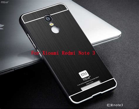 Xiaomi Redmi Note 3 Motomo Brushed Metal Casing Cover Armor Bagus msvii xiaomi redmi note 3 metal brushed pc back cover 2 5d arc aluminum frame phone bag