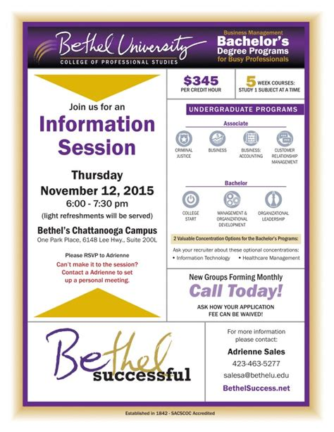 Bethel Success Mba by Information Session Chattanooga Bethel