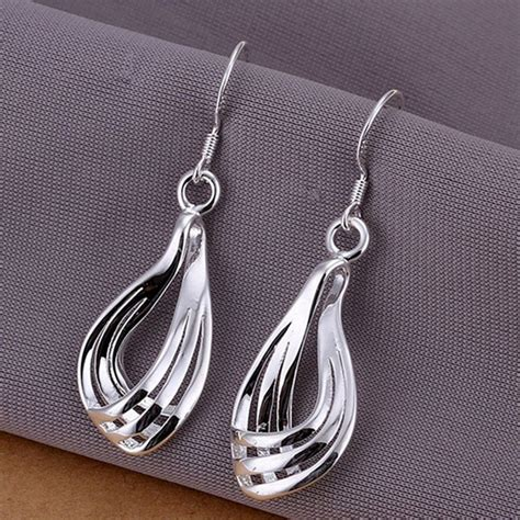 Sneakers Ars 925 fashion 925 sterling silver plated hollow teardrop hook earrings jewelry buyincoins