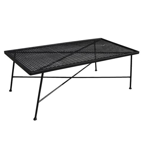 Iron Mesh Patio Furniture Wrought Iron And Mesh Low Outdoor Patio Coffee Table By Woodard Company At 1stdibs