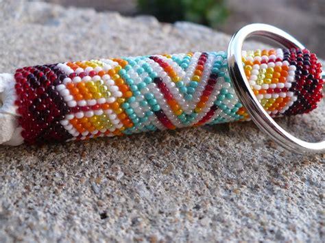 learn how to bead american peyote stitch beaded keychain american indian handmade