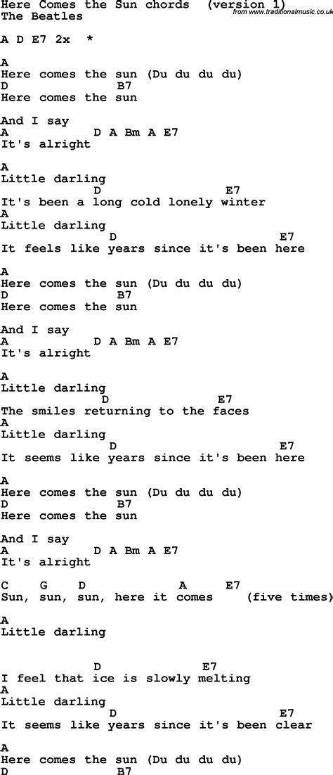 guitar tutorial here comes the sun song lyrics with guitar chords for here comes the sun
