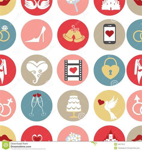 cute icon pattern cute flat wedding icons in seamless pattern stock vector