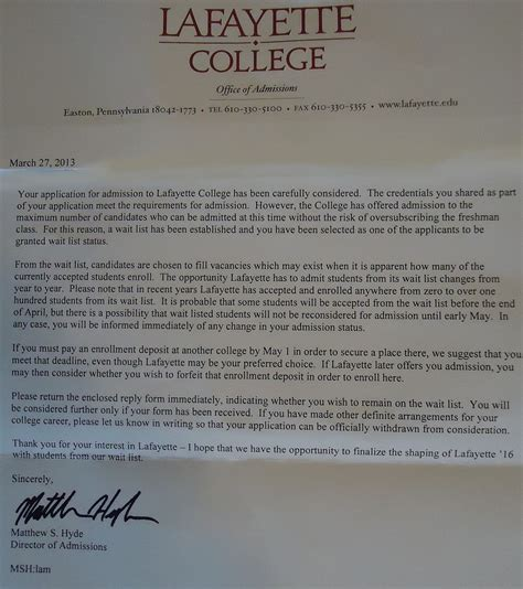 What Does A College Acceptance Letter Say Wait List