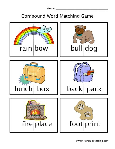 printable word matching games 28 compound words ks1 worksheet make compound words