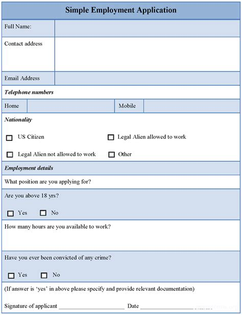 simple application template simple employment application format sle forms