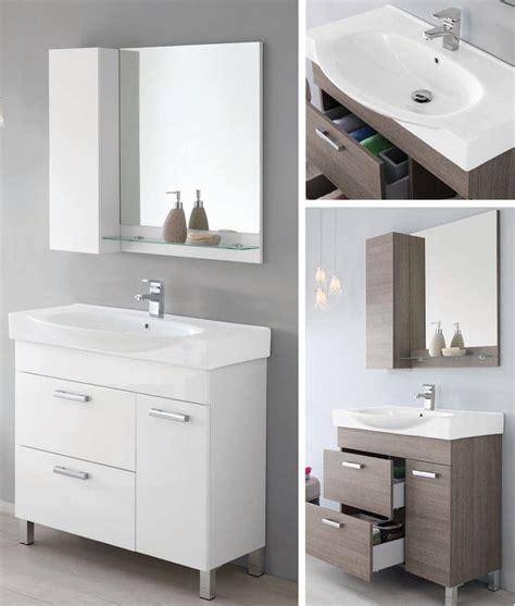 Armadietti Pensili Per Bagno by Mobile Da Arredo Per Bagno 90cm Con Lavabo Bianco Specchio