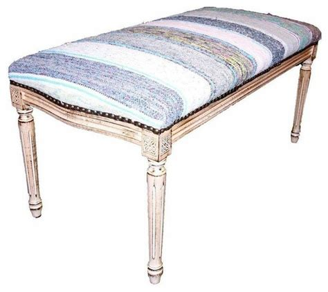 yellow bedroom bench pre owned bench upholstered in blue and yellow kilim